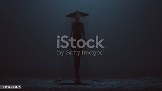 Futuristic Demon Assassin in a Tight Dress and Conical Hat with a Weighted Chain Sickle 3d illustration 3d render