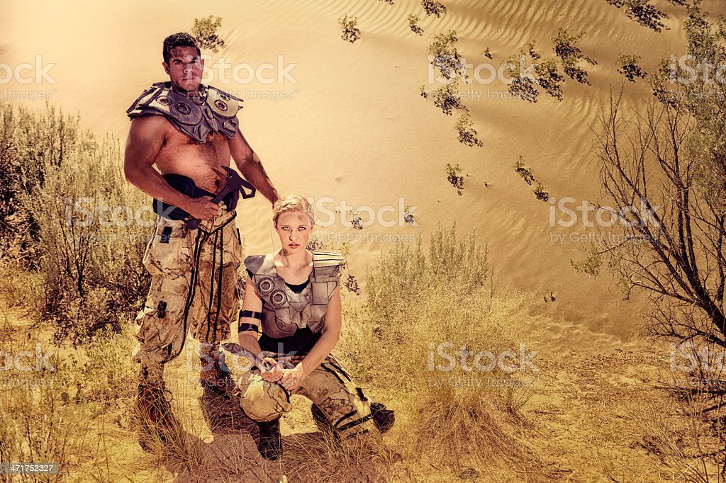 Futuristic Desert Warriors -  Bold and Fearless With Their Weapons stock photo