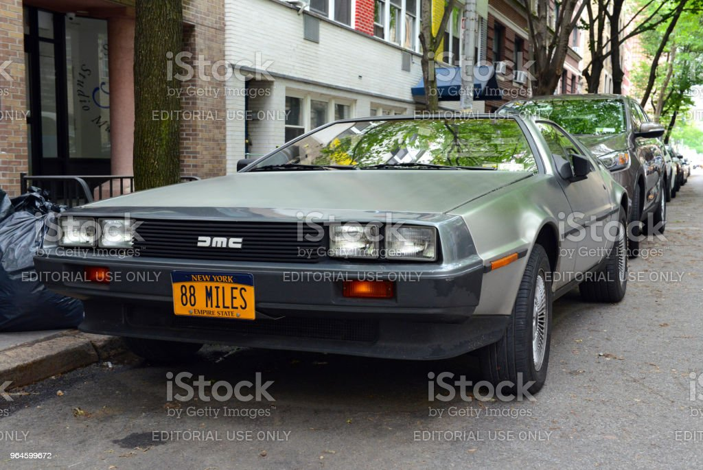 A futuristic design early for its time, the DeLorean starred in the film Back to the Future and remains popular with classic car enthusiasts. stock photo