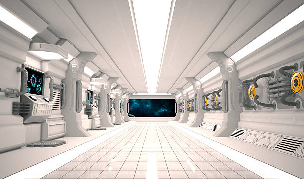 futuristic design spaceship interior with metal floor and light panels. - vaisseau spatial photos et images de collection