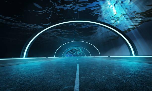 Futuristic design tunnel road stock photo