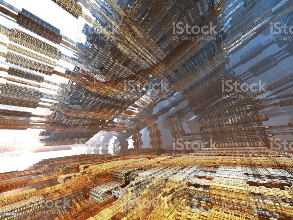 futuristic digital 3d art fractal illustration - look in the infinity stock photo