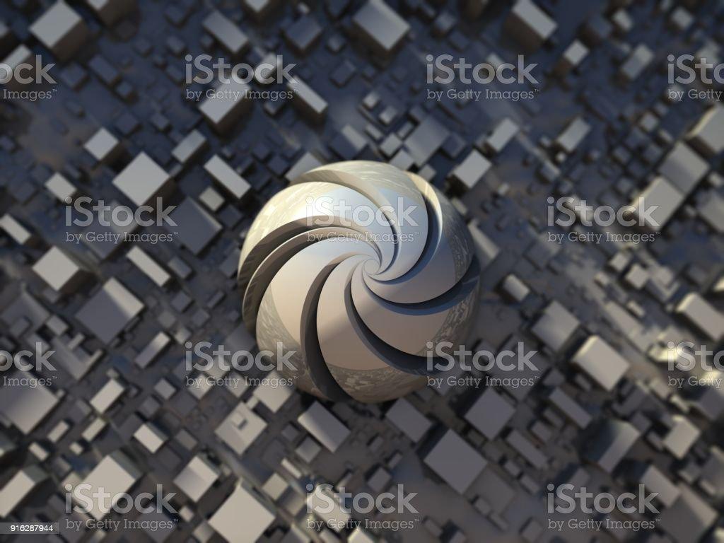 futuristic digital 3d art fractal illustration stock photo