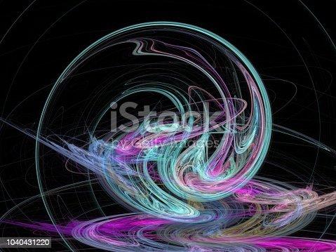 istock Futuristic digital 3d design art abstract background fractal illustration for meditation and decoration wallpaper 1040431220