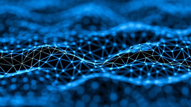 futuristische digital blockchain hintergrund, fintech-technologie - datenknoten stock-fotos und bilder