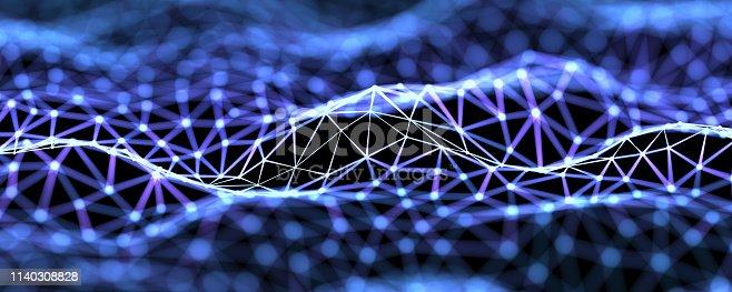 Futuristic digital blockchain background, fintech technology