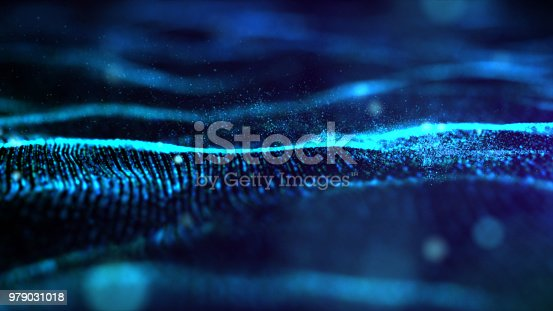 Futuristic Blue digital abstract luxurious sparkling wave particles flow de-focus background