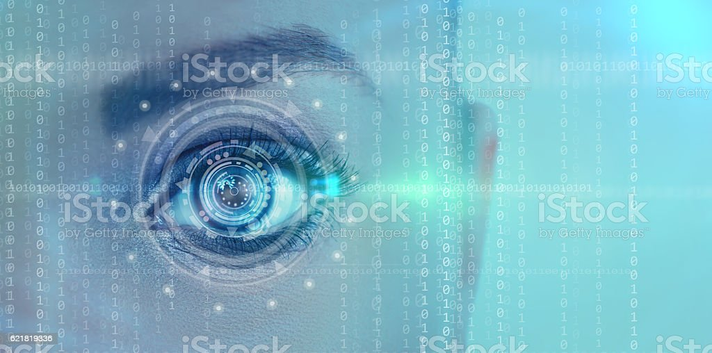 futuristic digital eye stock photo