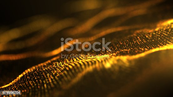 istock Futuristic Digital Gold Abstract Particles 978996204