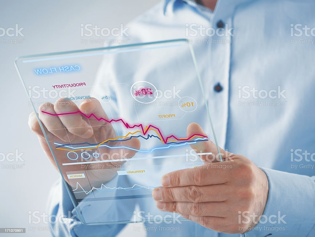 Futuristic digital tablet in the hands royalty-free stock photo