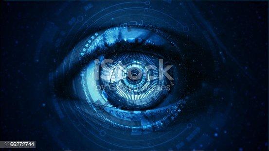 Close up of Asian women with hi tech digital technology screen over the eye.