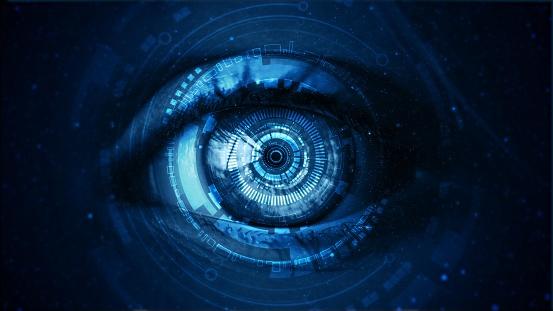 Futuristic Digital Technology Screen On The Eye — стоковые фотографии и другие картинки Анализировать