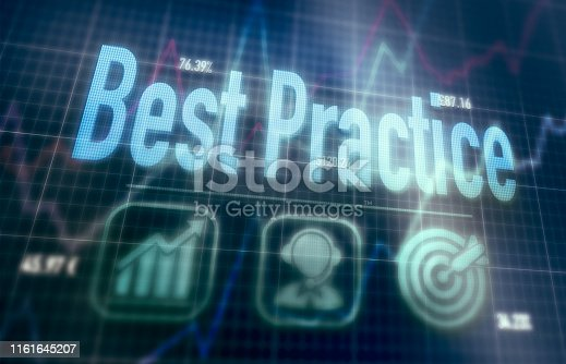 istock Futuristic display with a Best Practice concept written on it. 1161645207