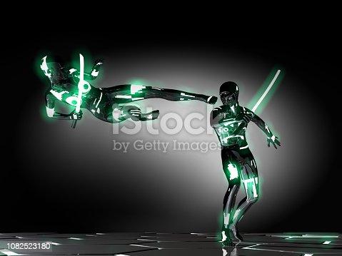 Superhero is fighting his brutal enemy in black dojo.