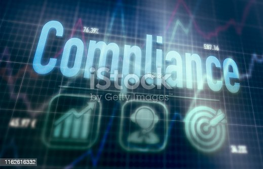 istock Futuristic dot matrix display with a Compliance concept written on it. 1162616332