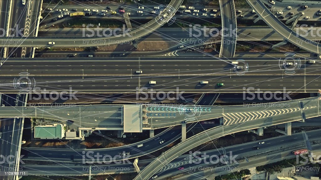 Futuristic Driverless Cars on the Elevated Expressway stock photo