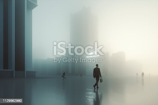 Futuristic dystopian city with walking businessmen. This is entirely 3D generated image.