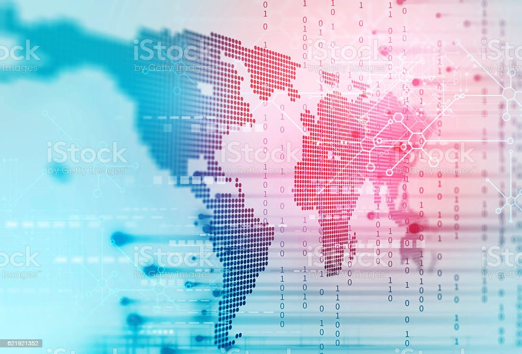 futuristic earth map technology abstract background stock photo