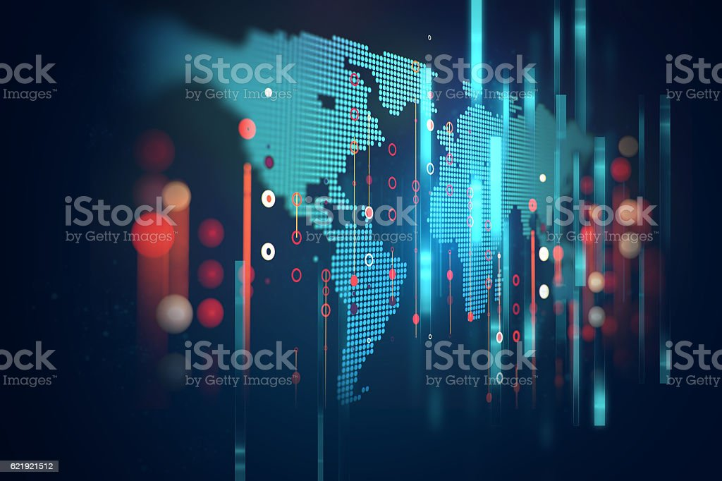 futuristic earth map technology abstract background - foto de stock
