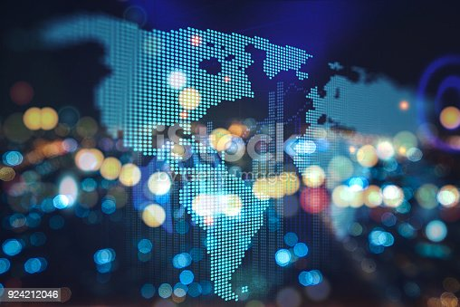 istock Futuristic earth map technology abstract background 924212046