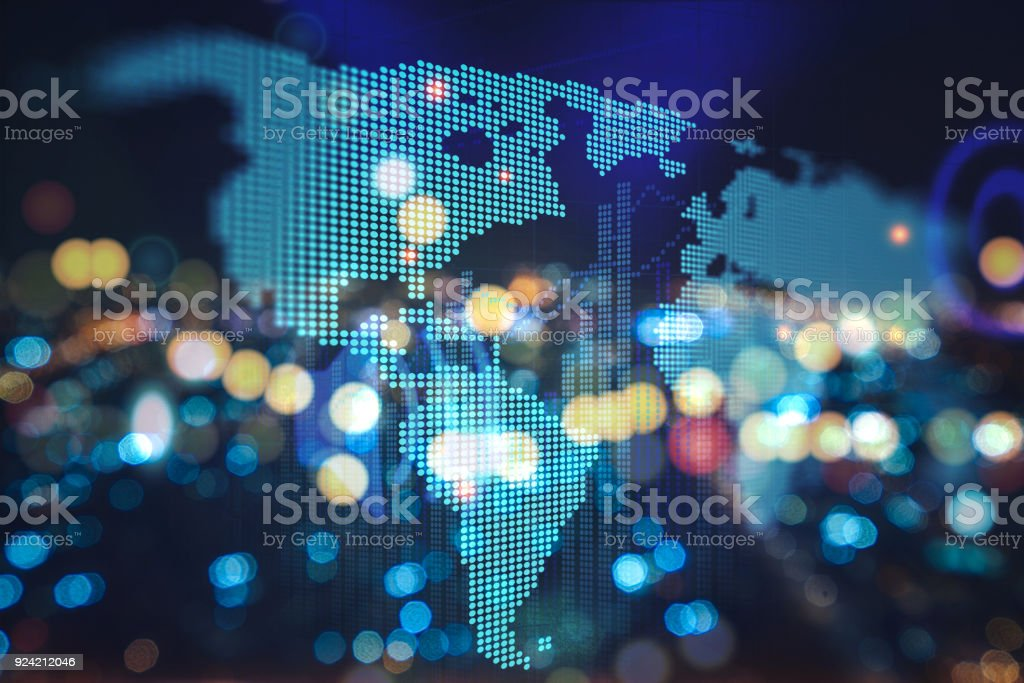 Futuristic earth map technology abstract background - foto stock