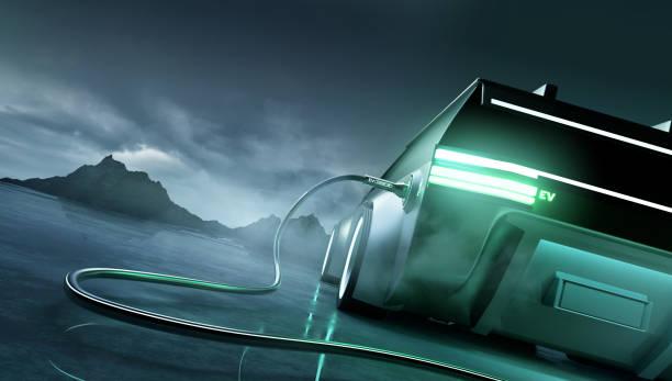 Futuristic Electric Car And Landscape stock photo