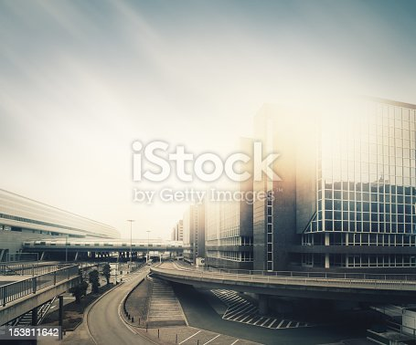 Futuristic empty city in the sunlight