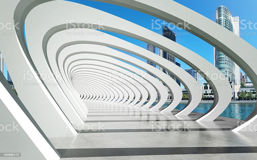 Futuristic exterior structure under arcs on river stock photo
