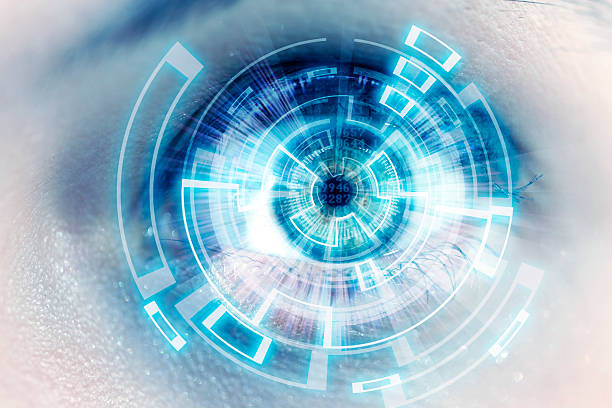 futuristic eye - image focus technique stock photos and pictures