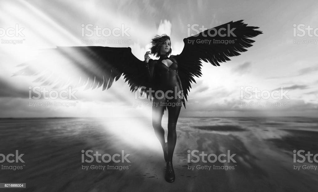 anjo negro futurista moda - foto de acervo