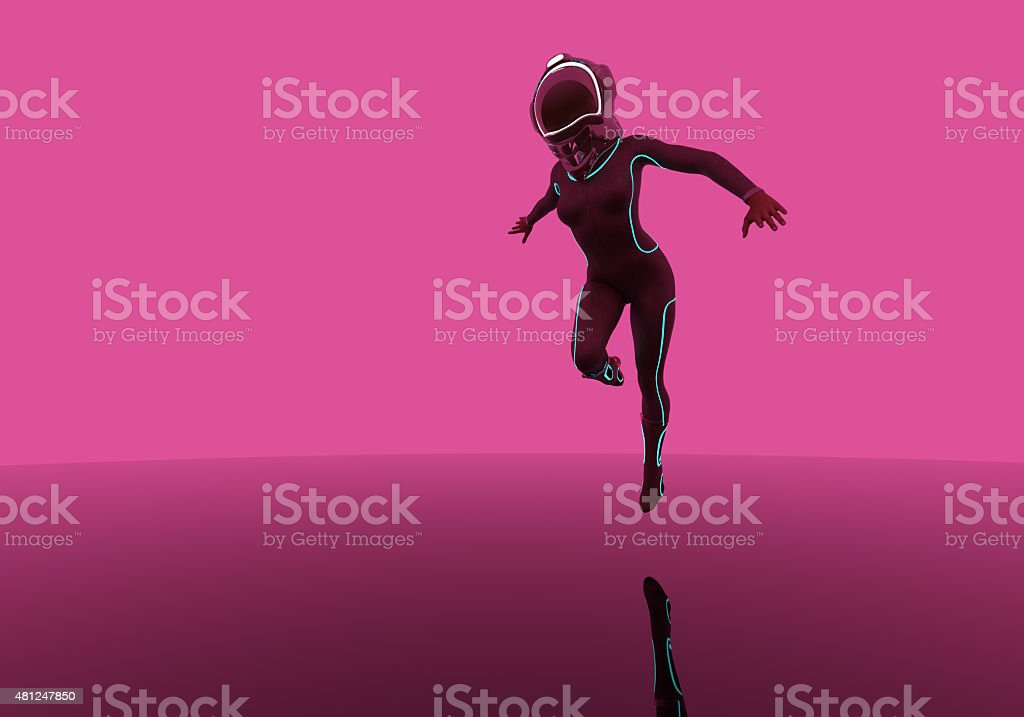 futuristic fashion model in air with helmet stock photo