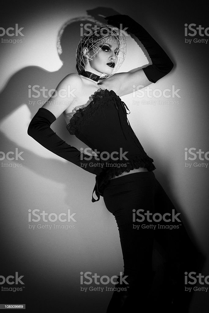 Futuristic Fashionable Woman Black and white Portrait royalty-free stock photo