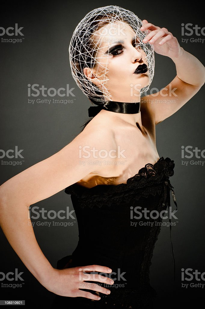 Futuristic Fashionable Young Woman Portrait royalty-free stock photo