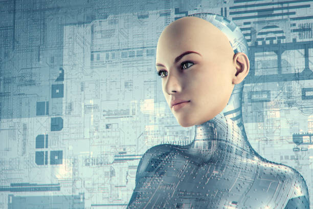 futuristic female cyborg - cyborg stock pictures, royalty-free photos & images