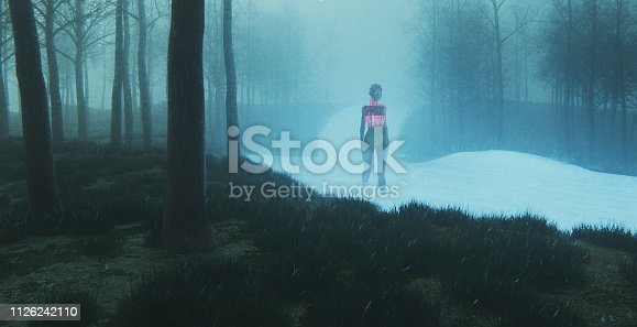 Futuristic female cyborg walking in spooky fantasy landscape. This is entirely 3D generated image.