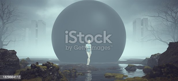 istock Futuristic Female Defensive Pose Alien Landscape Mysterious Black Sphere near a Foggy Abandoned Brutalist Style Architecture in the Distance 1329664112