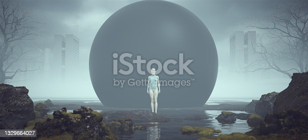 istock Futuristic Female Strong Neutral Standing Pose Alien Landscape Mysterious Black Sphere near a Foggy Abandoned Brutalist Style Architecture in the Distance 1329664027