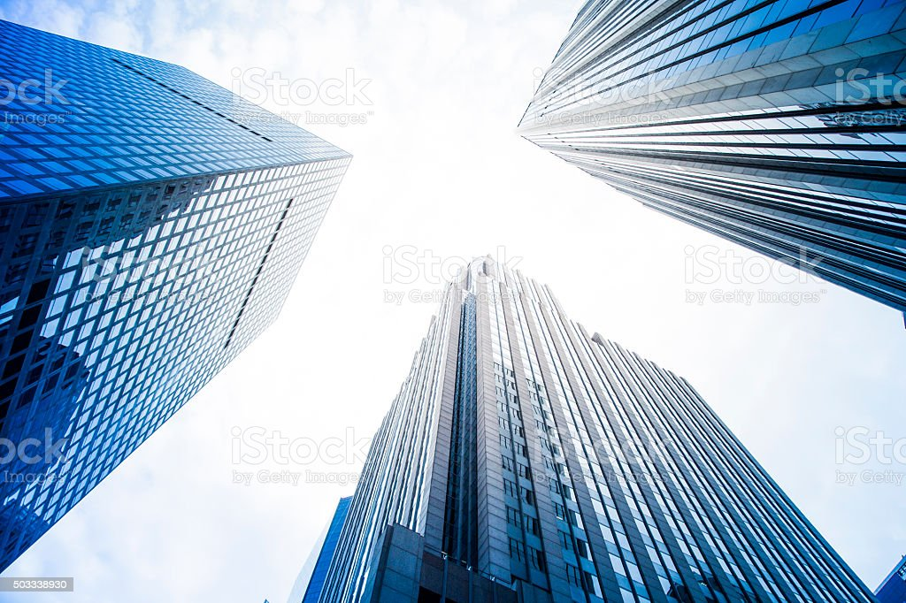 Futuristic financial district in a modern city (New York) stock photo