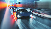 Futuristic generic concept sport car speeding on city highway. Entirely 3D generated image. This is a generic design, custom made concept vehicle that does not borrow design elements from any of the real car models. Custom made graphic elements for the HUD display.