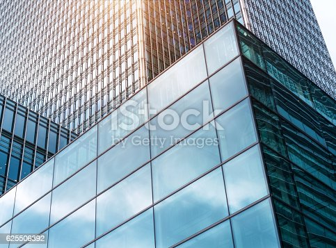 1157587322 istock photo Futuristic Glass Architecture in Sunlight 625506392