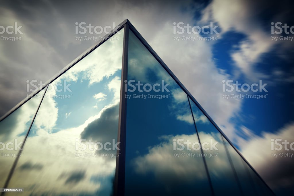 futuristic glass bulding stock photo