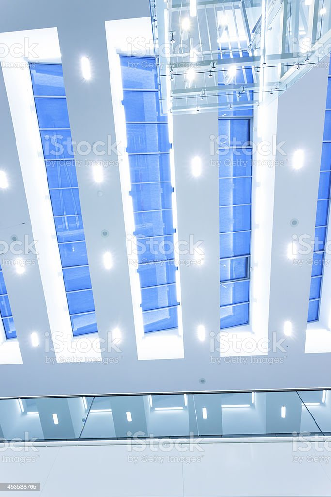 Futuristic Glass Ceiling in Modern Interior royalty-free stock photo