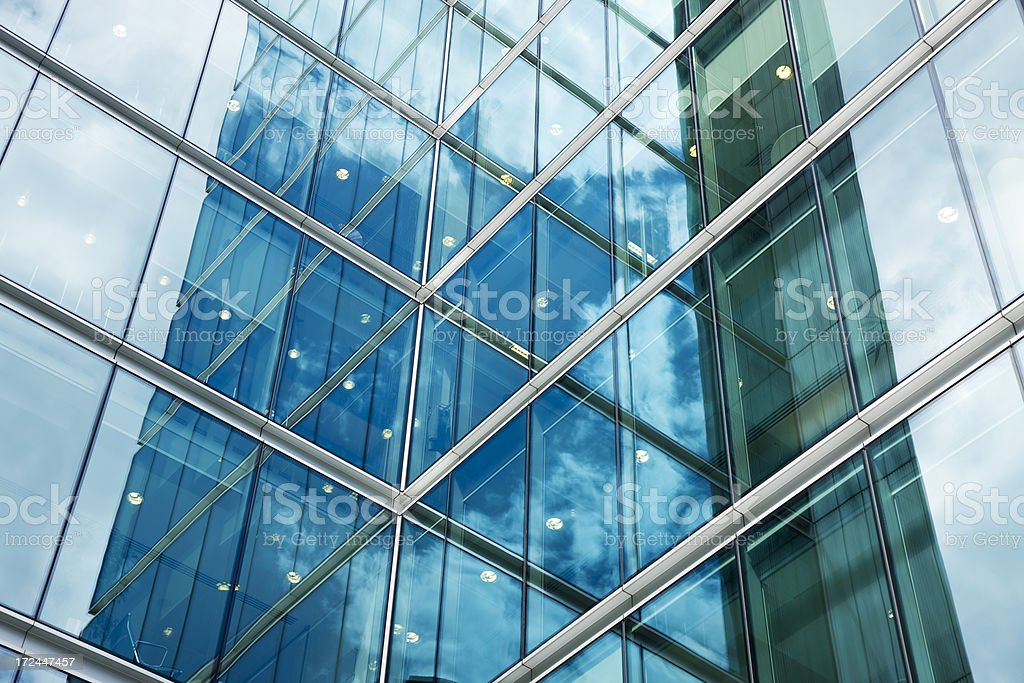 Futuristic Glass Office Building, London, England stock photo