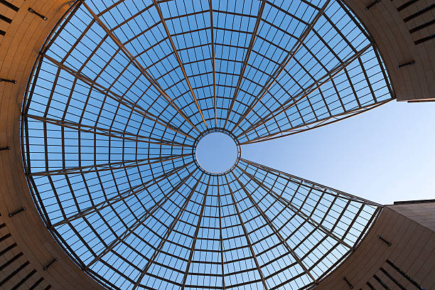 Futuristic Glass-steel Dome - Rovereto Italy Futuristic Glass-steel Dome on blue sky of Mart museum in Rovereto - Italy cupola stock pictures, royalty-free photos & images