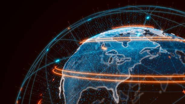 Futuristic global connections around the earth planet stock photo