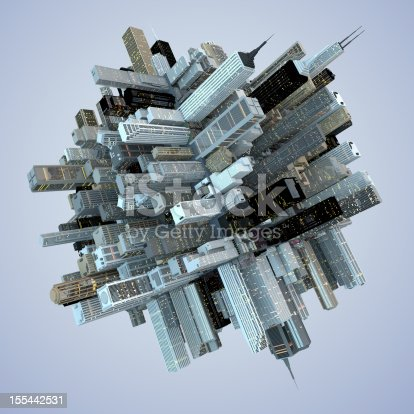 istock Futuristic Globe Architecture Skyscrapers City Cube 3D Abstract 155442531