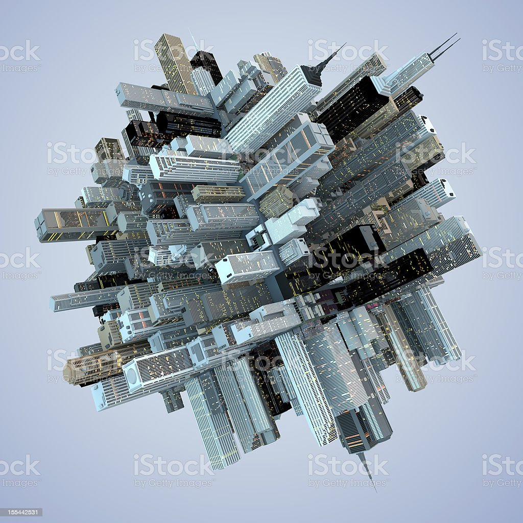Futuristic Globe Architecture Skyscrapers City Cube 3D Abstract stock photo