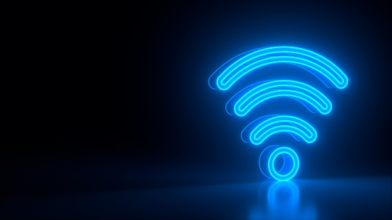 Futuristic glowing blue wi-fi symbol on black dark background with blurred reflection. Signal app, connection sign, neon lights. Business colorful concept. Modern design. 3d rendering