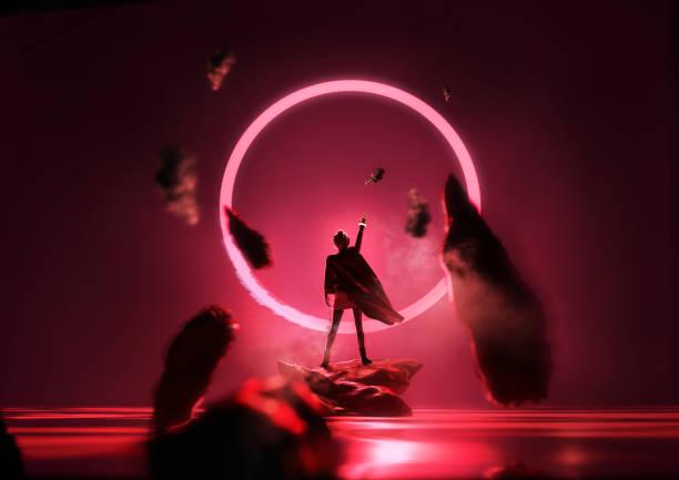 Futuristische Glühende rote Schleife – Foto