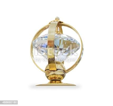 544347868 istock photo Futuristic golden prize isolated over white 488665180